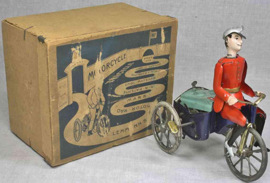 lehmann 471 tin toy  mars clockwork tricycle red uniform
