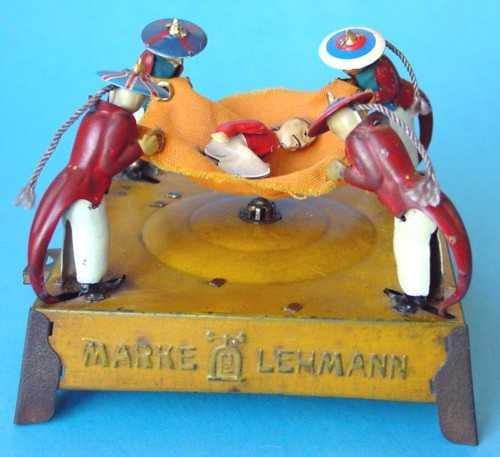 lehmann 530 blech spielzeug der bestrafte boxer sprungtuch fleissige kulis gelb