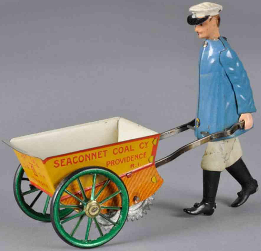 lehmann 560 seaconnet coal  tin toy tap tap man pushing yellow wheelbarrow