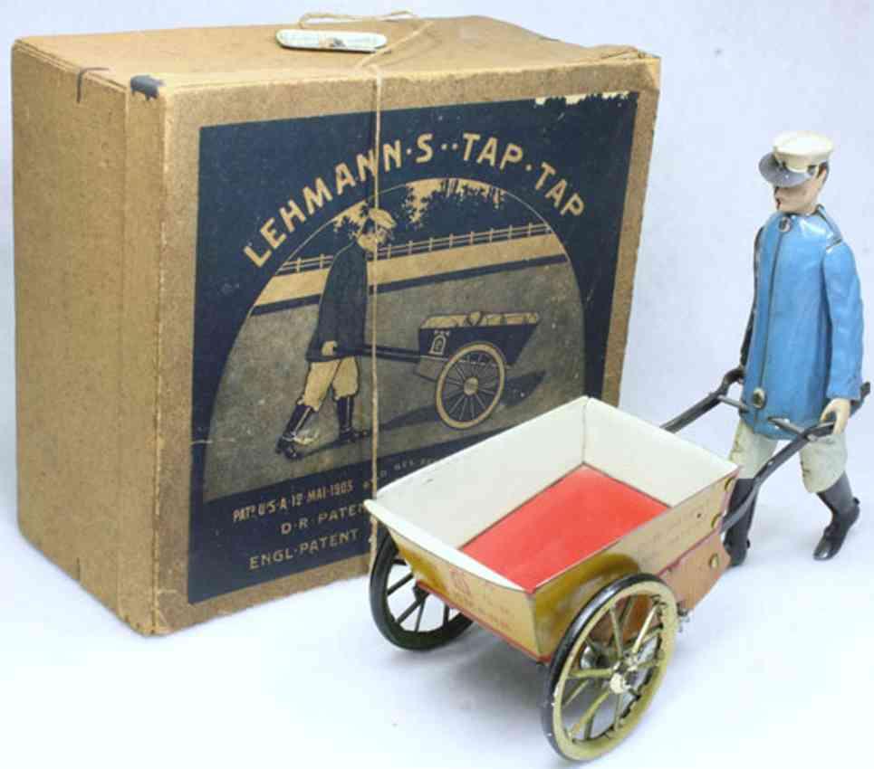 lehmann 560 blech spielzeug tap tap gaertner gelbe schubkarre