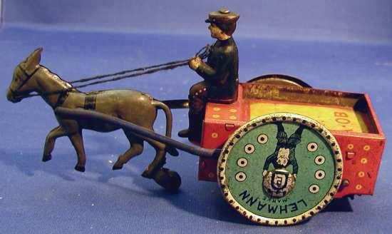 lehmann 608 na-ob wind-up donkey cart with
