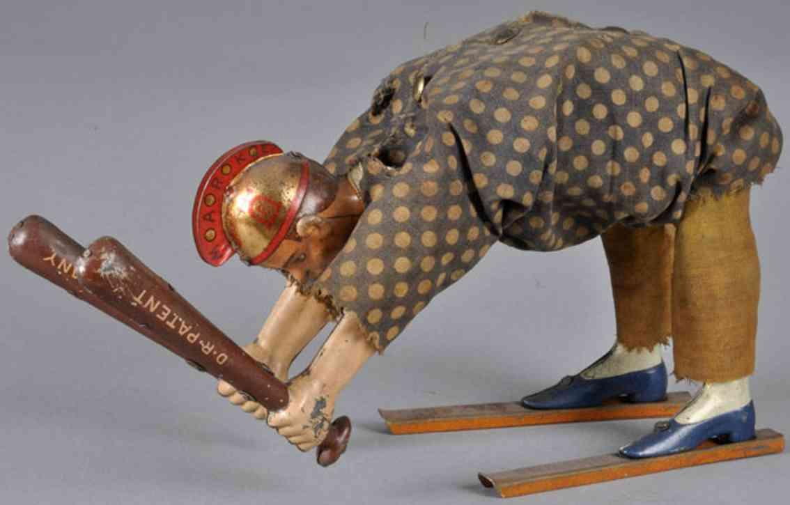 lehmann 659 tin windup toy ajax acrobat ajax warrior polka dot clothing