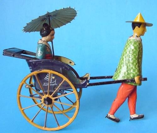 lehmann 773 tin toy masuyama coolie asian woman in cart