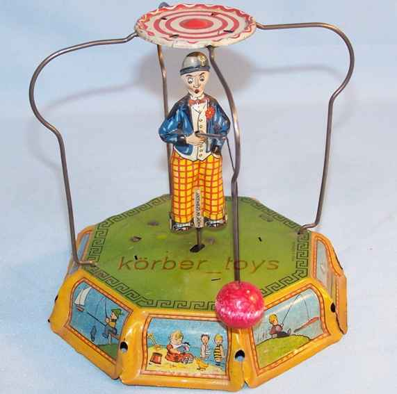 levy george gely 105 blech spielzeug angler mit uhrwerk, grün, blau, rot lithografiert, tischspie