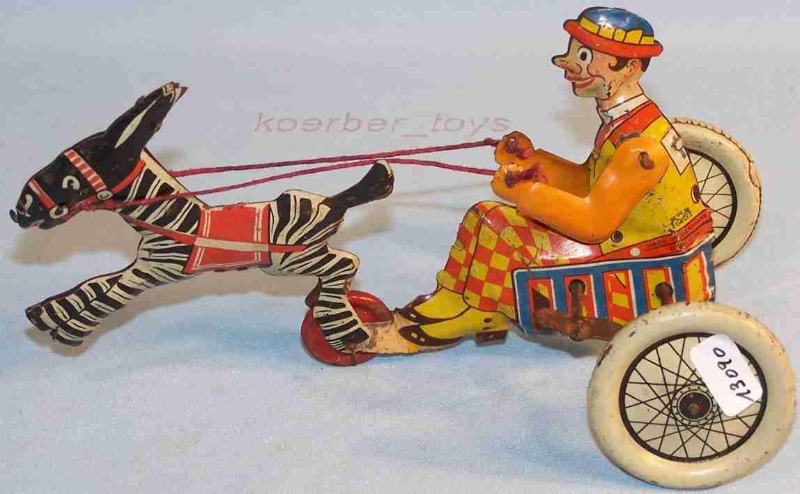 Levy George Gely Clown in Kutsche mit Zebra