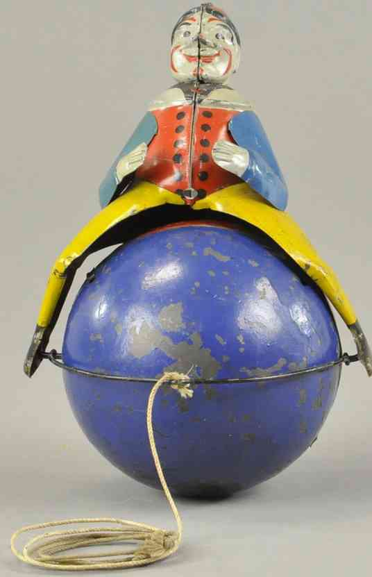 lindstrom tin toy clown clown on ball as pull toy