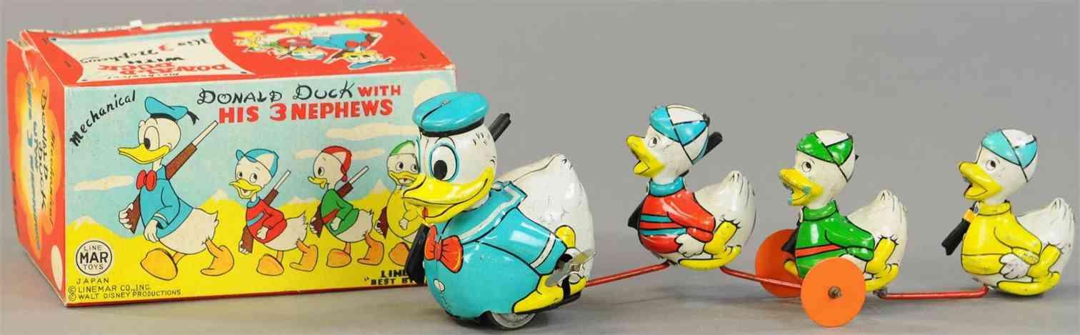 linemar j-4728 tin toy disney donald and nephews