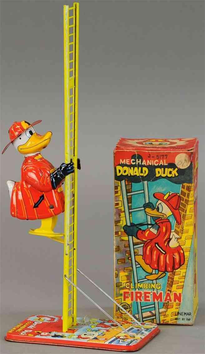 linemar j-5177 tin toy donald duck climging fireman