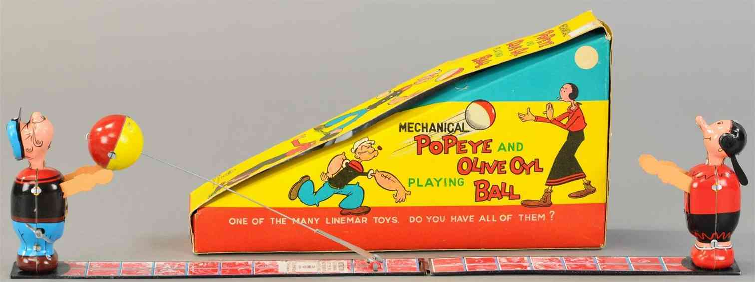 linemar blech spielzeug popeye & olive oyl spielen Ball