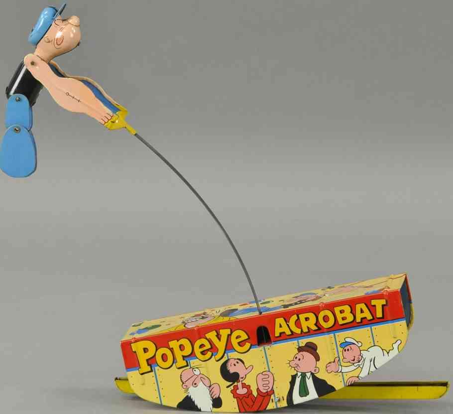 linemar blech spielzeug popeye der akrobat uhrwerk