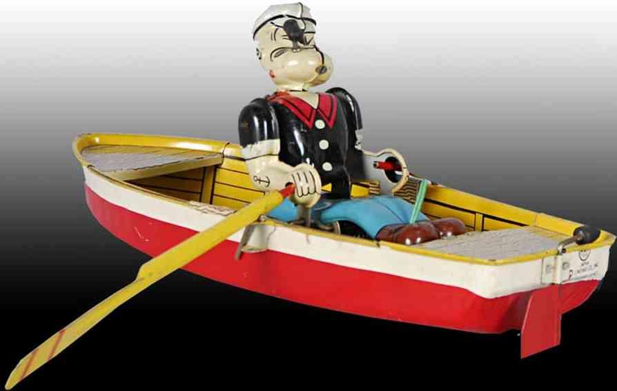 linemar 2 blech spielzeug popeye im ruderboot batteriebetrieben