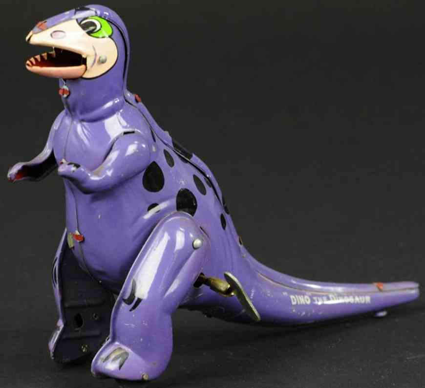 linemar tin toy flintstones dino wind-up toy
