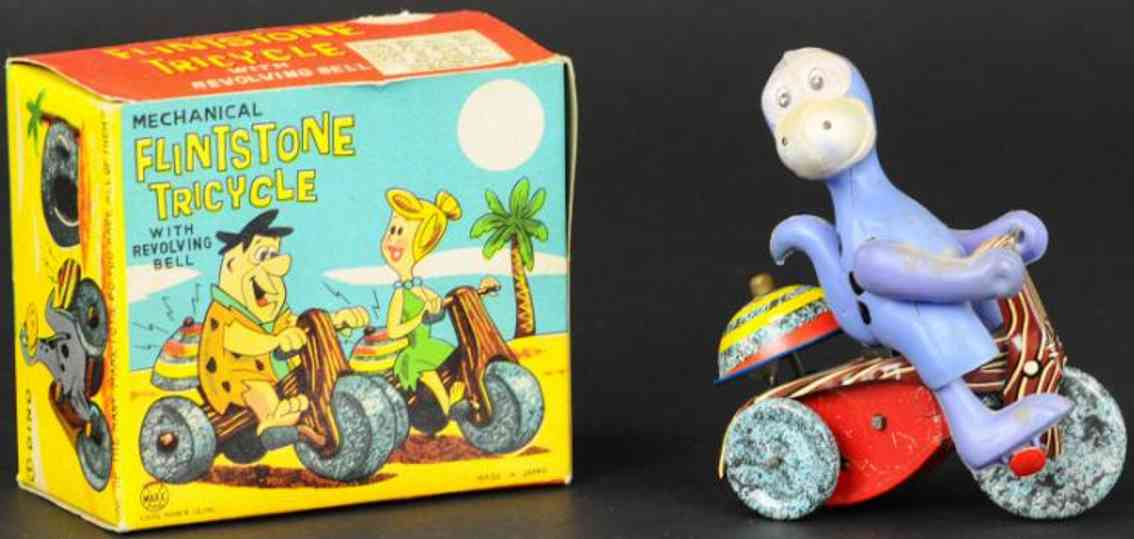 linemar tin toy flinstones dino on tricycle