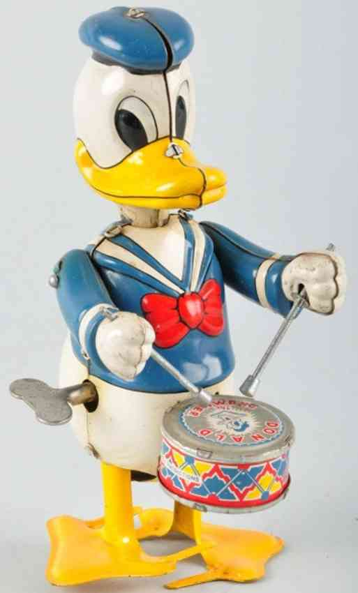 linemar drum tin toy donald duck with drum
