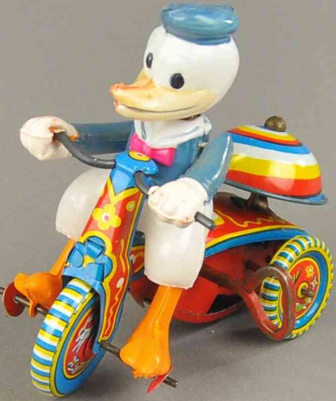 linemar blech spielzeug donald duck auf dreirad