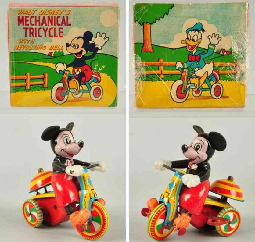 linemar tricycle blech spielzeug micky maus auf dreirad uhrwerk