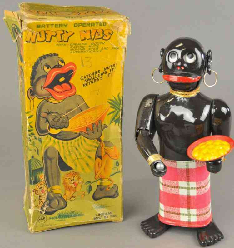 linemar tin toy nutty nibs  tin battery operated native figure