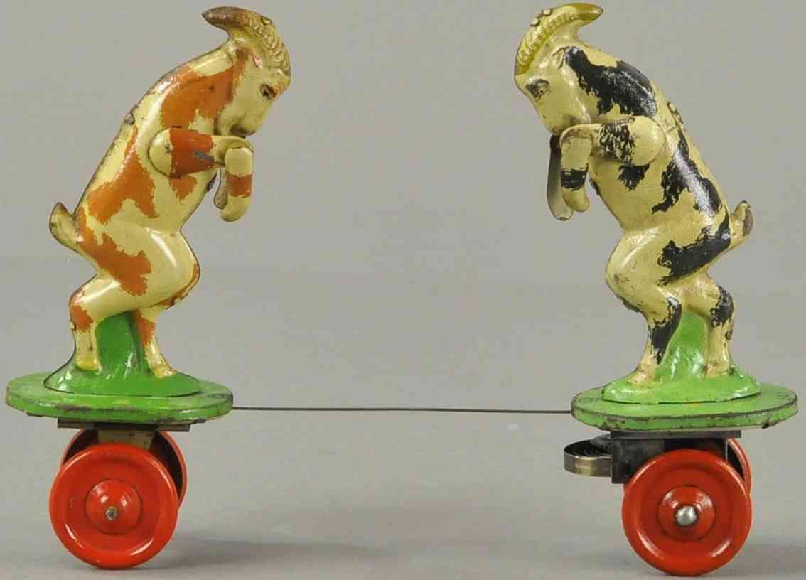 msb veb mechanische spielwaren brandenburg fighting billy goats on platform