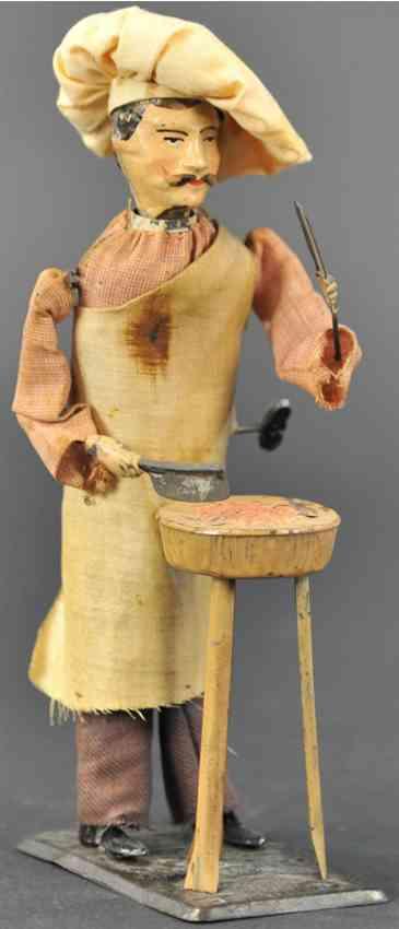 martin fernand 187 blech spielzeug le charcutier #187, meetzger mit uhrwerk