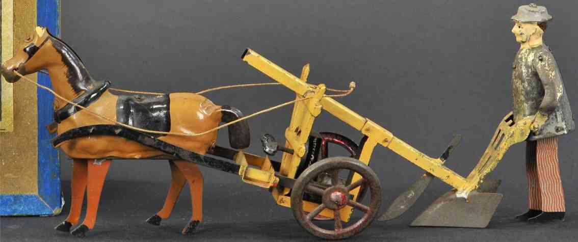 martin fernand 203 blech spielzeug le laboureur farmarbeiter bauer pferd pflug uhrwerk