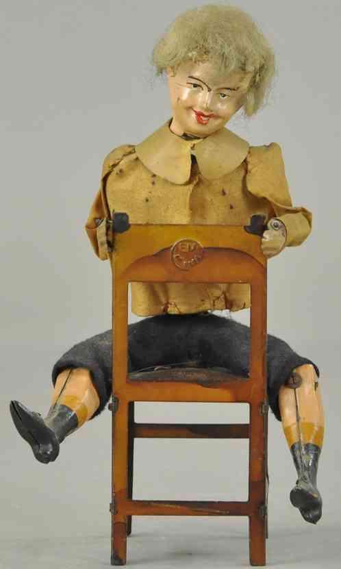 martin fernand 222 blech spielzeug le jeune écuyer #222, junge sitzend auf einem stuhl, mit uhr
