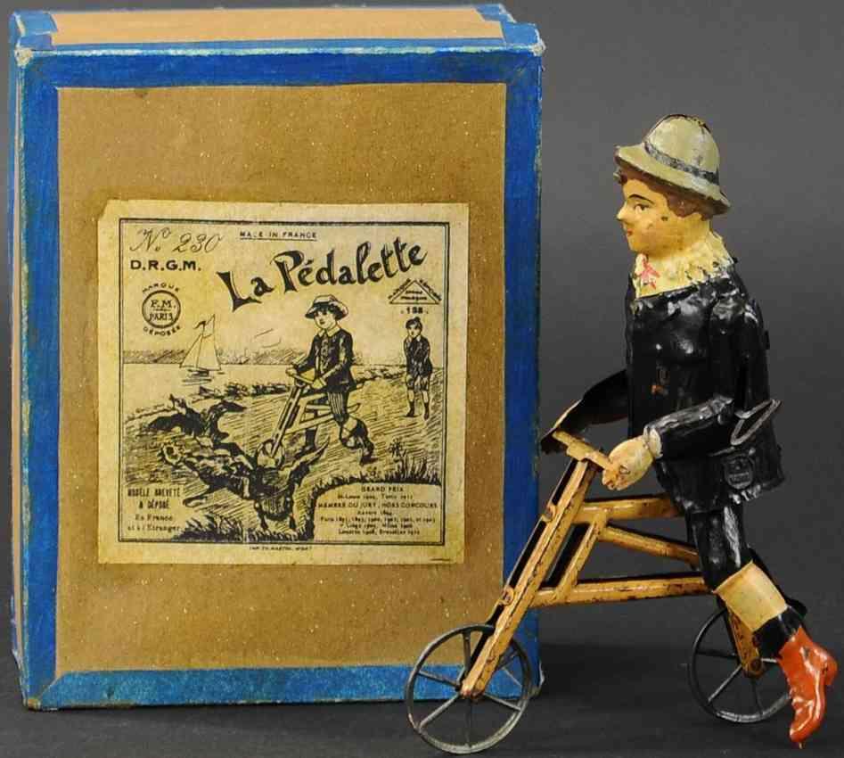 martin fernand 230 blech spielzeug la pedalette junge auf hobbypferd uhrwerk