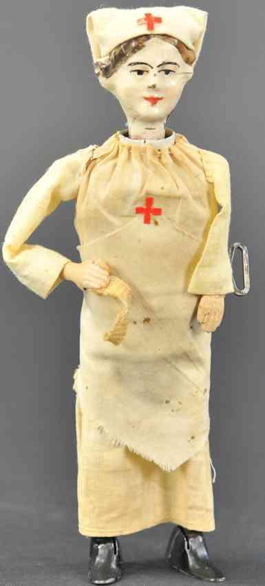 martin fernand 237 tin toy dame de la croix rouge red cross nurse clockwork
