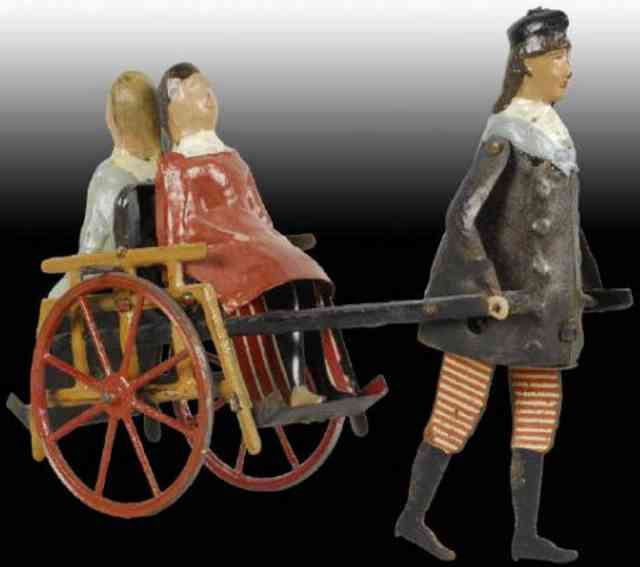 martin fernand blech spielzeug la charrette anglaise mann karre zwei maedchen