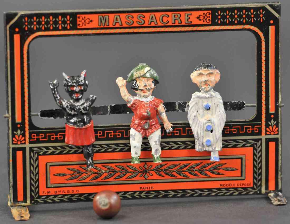 martin fernand 16 tin toy le jeu de massacre three figures ball lead
