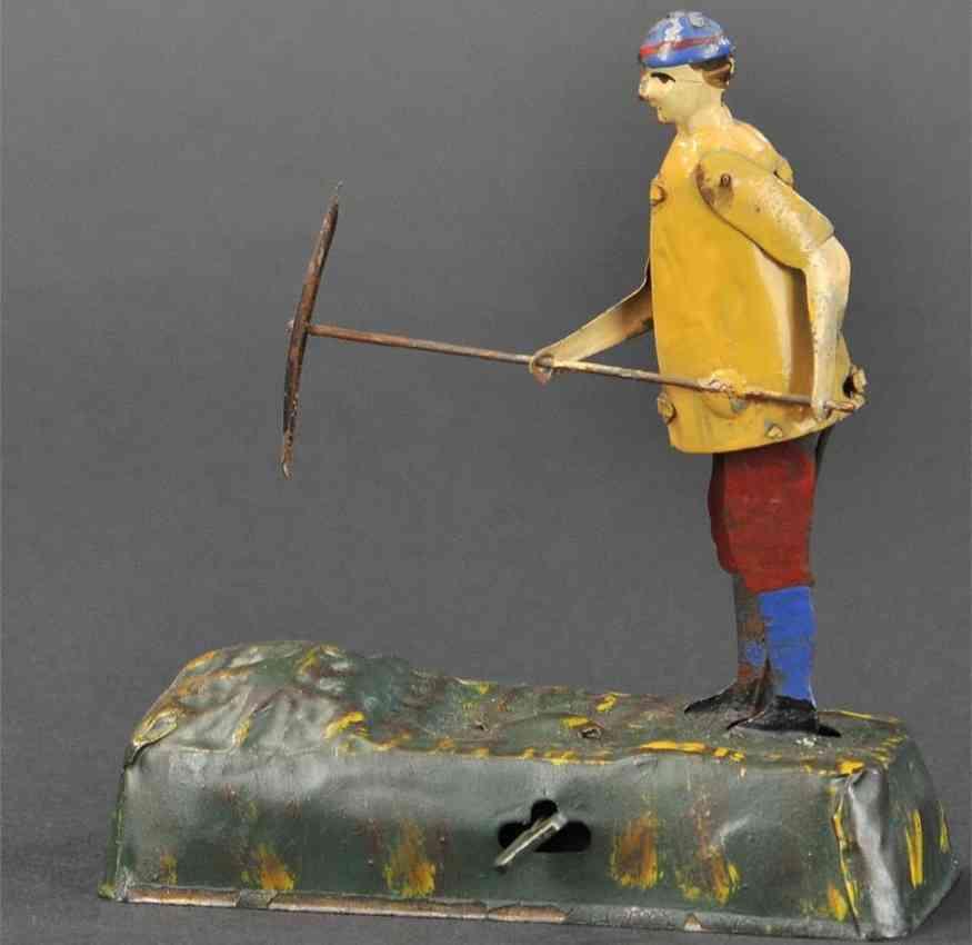 martin fernand blech spielzeug le piocheur arbeiter  spitzhacke mit gummiband