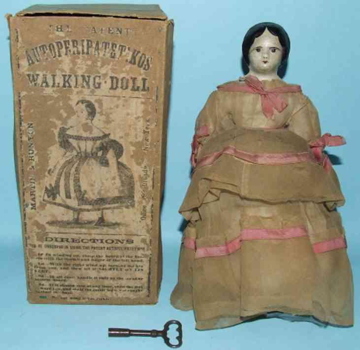 martin & hunyon tin toy autoperipatetikos walking doll mechanical clockwork wind up