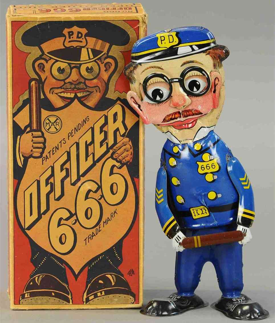 marx louis 666 tin toy figure officer with wind-up