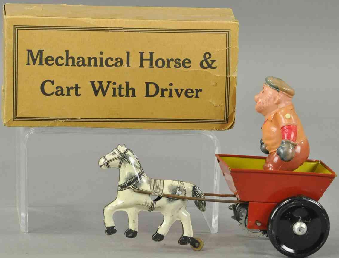 marx louis tin toy brutus riding horse drawn cart celluloid figure