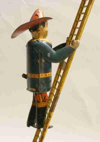 marx louis tin toy fireman with ladder