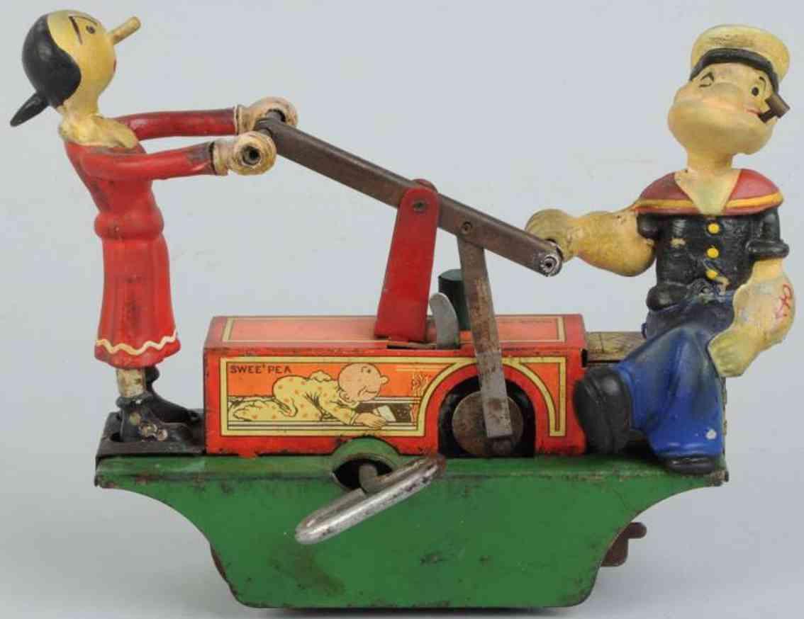 marx louis blech spielzeug popeye und olive auf handwagen mit uhrwerk