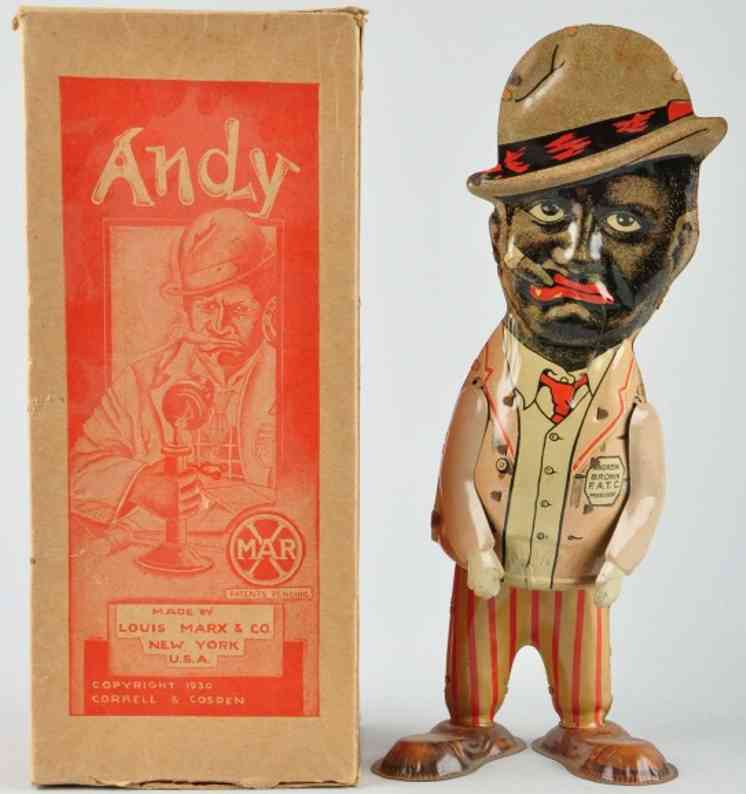marx louis tin wind-up toy walking andy pink vest