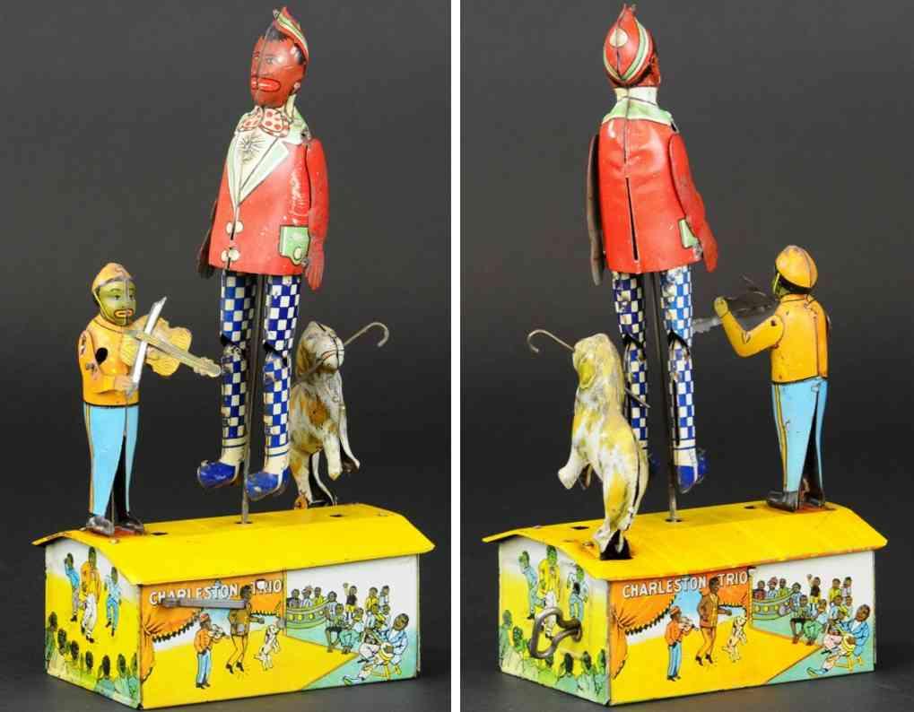 marx louis tin wind-up toy charleston trio boy fiddler dog cane