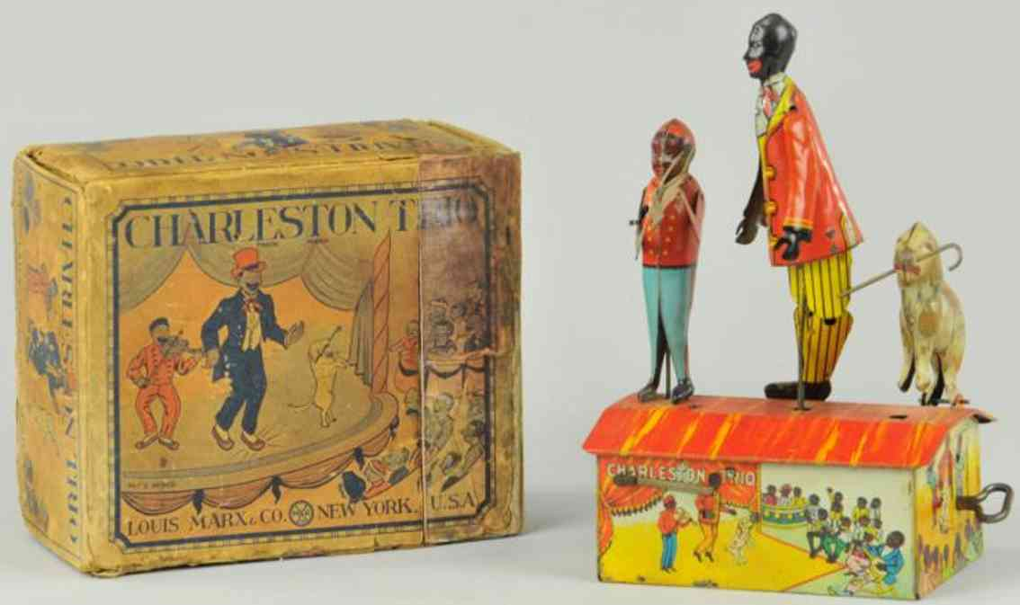 marx louis tin toy charleston trio figure boy fiddler dog cane