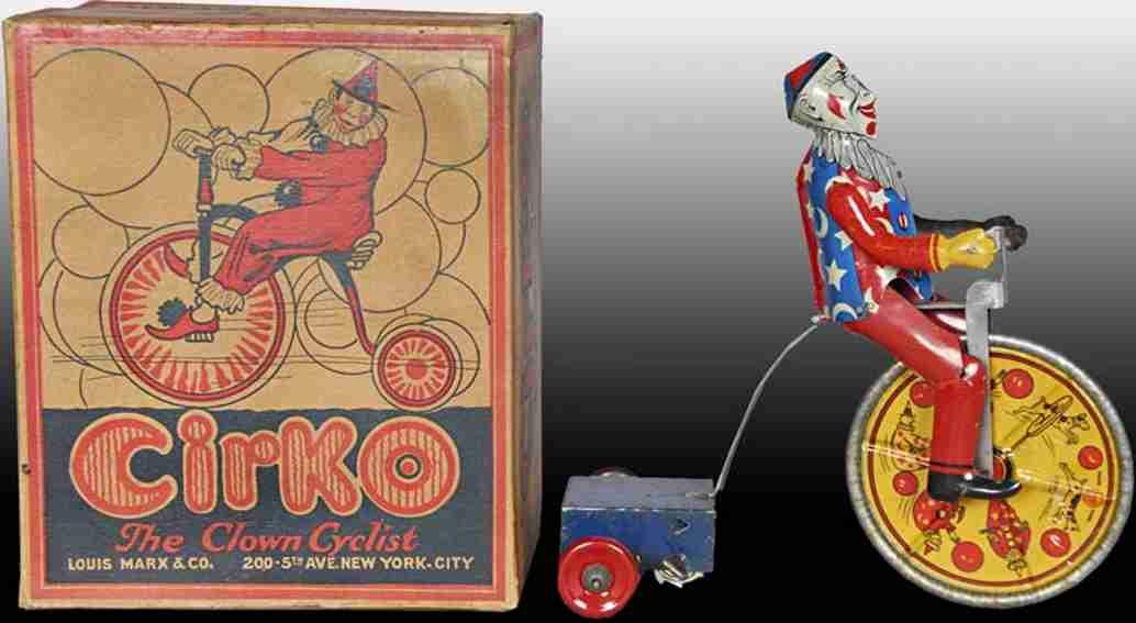 marx louis blech spielzeug cirko clown radfahrer uhrwerk