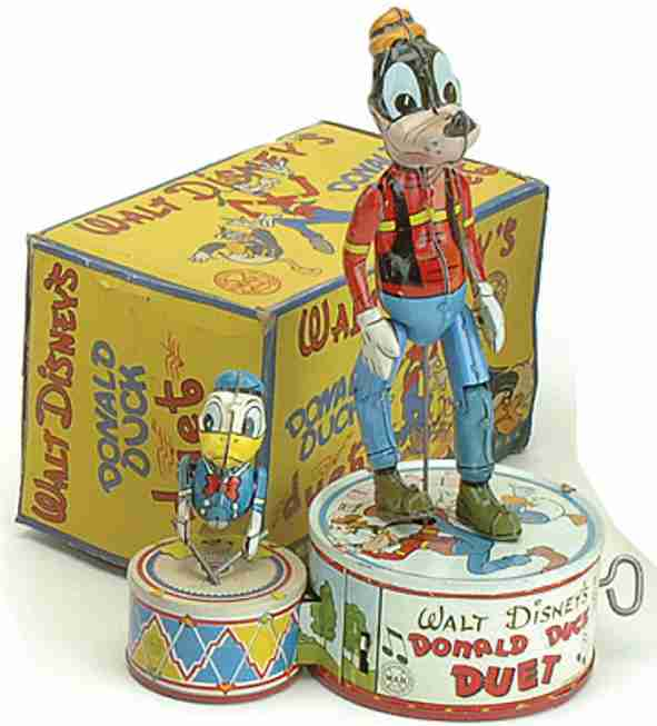 marx louis  tin toy walt disney's donald duck duet