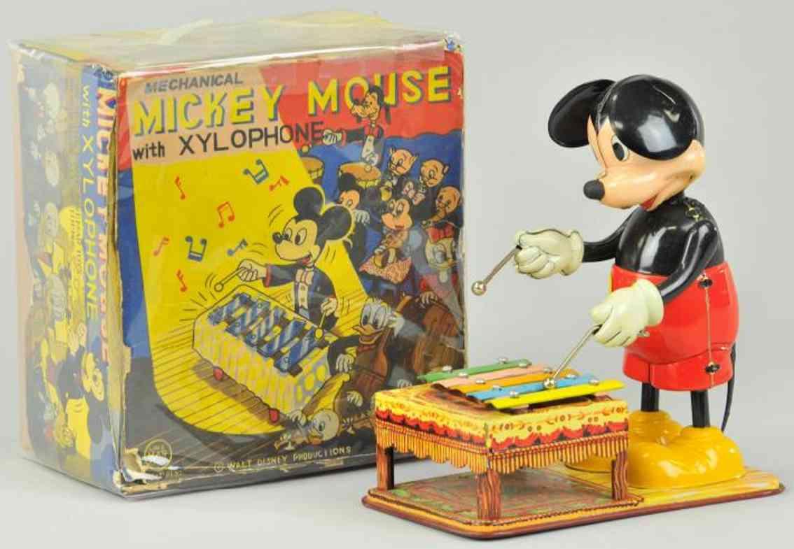 marx louis tin toy mickey playing xylophone