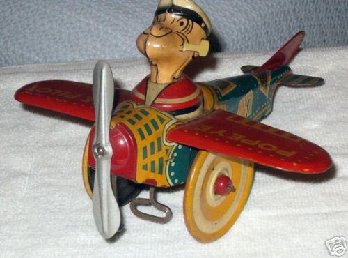 marx louis popeye blech spielzeug flugzeug mit uhrwer
