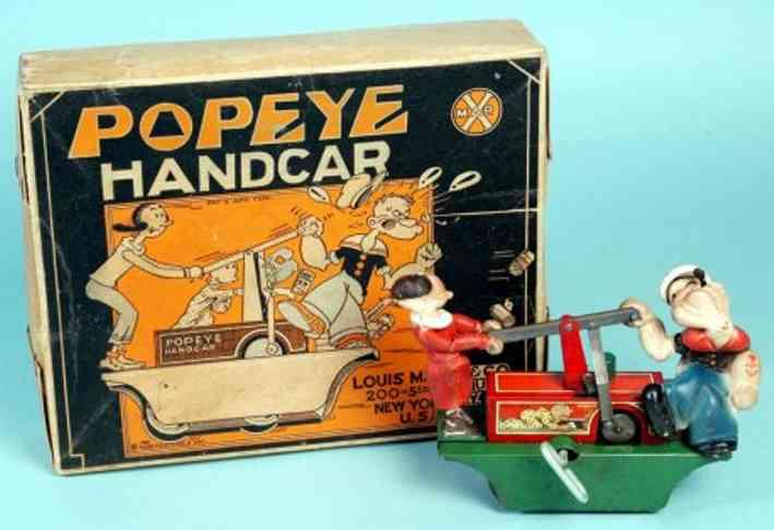 Marx Louis Popeye mit Handkarre und Schachtel aus gepreßtem Stahl, lith