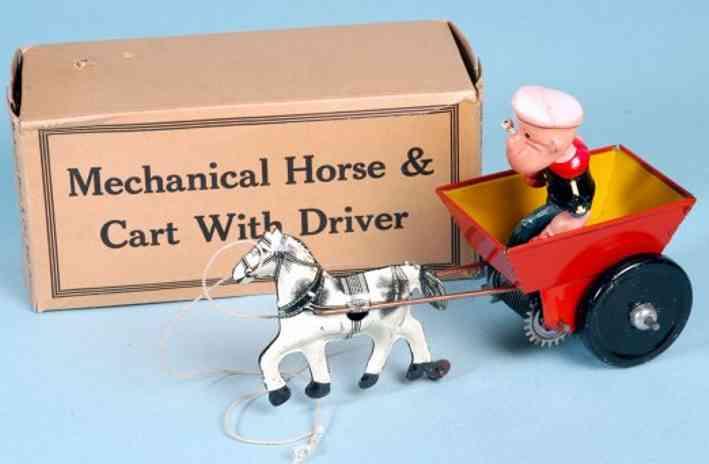 marx louis blech spielzeug popeye in karre mit pferd und uhrwerk