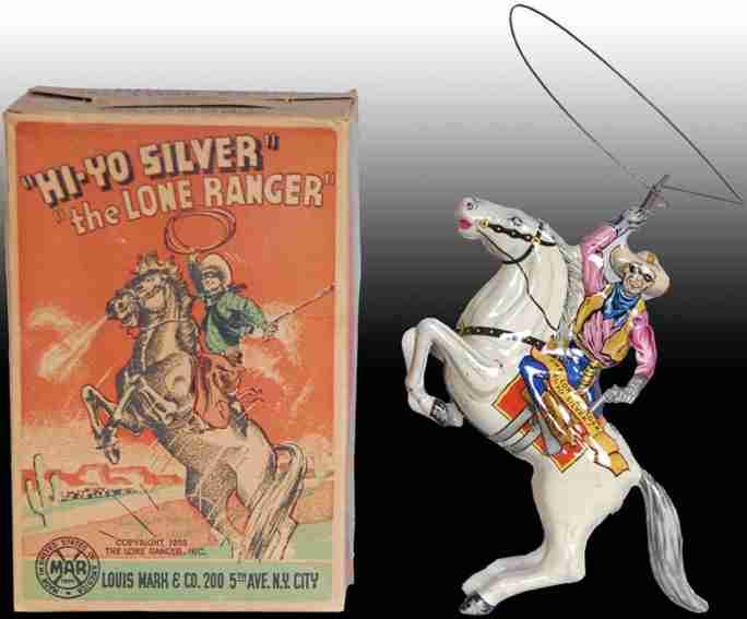 marx louis  blech spielzeug hi-ho silver the lone ranger uhrwerk weisses pferd
