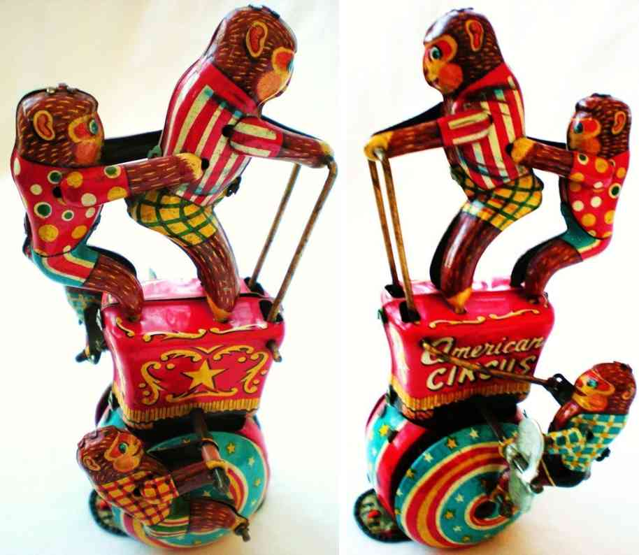 masudaya modern of toys blech spielzeug zirkusaffen mit uhrwerk