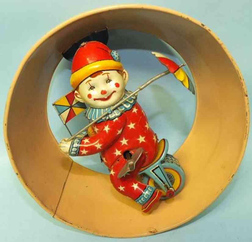 masudaya modern of toys tin circus clown on unicycle