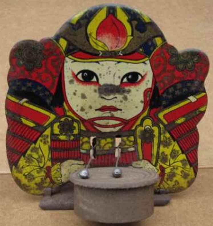 meiji blech spielzeug samurai mit trommel lithografiert