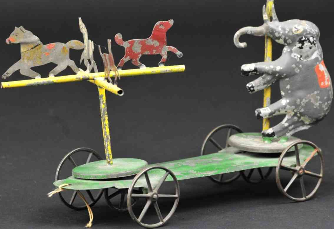 merriam blech spielzeug zirkustiere auf plattform elefant vier phferde