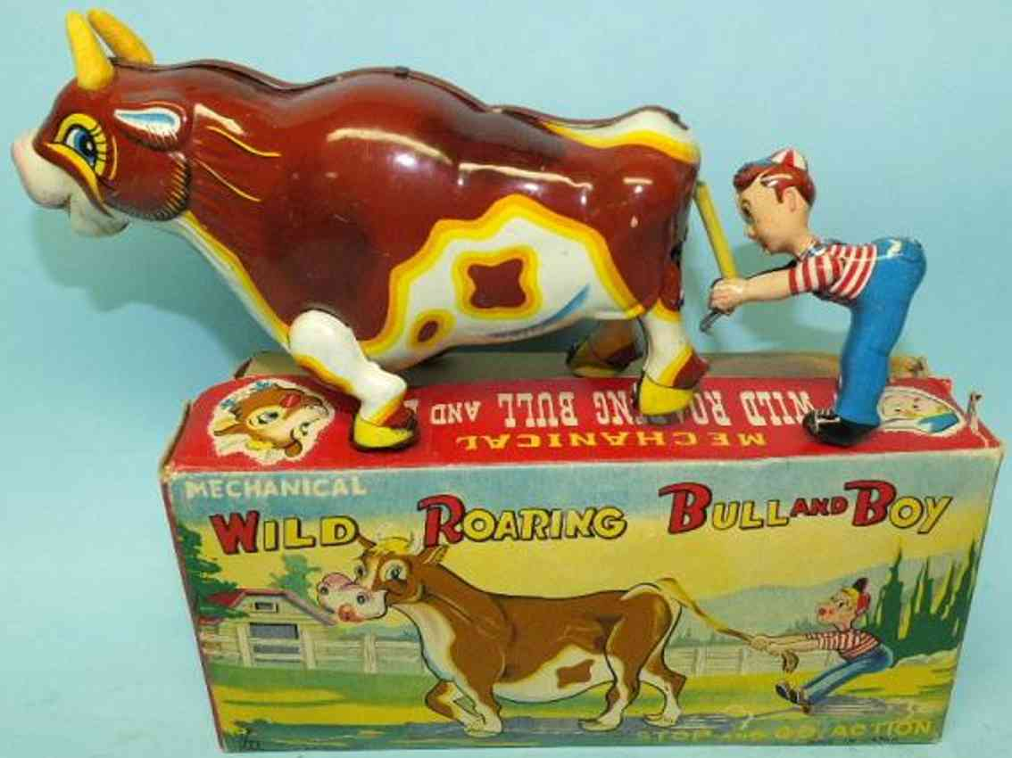 mikuni toy tin toy mechanical wild roaring bull and boy